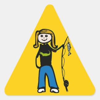 Cajun Woman Fish, edit text Triangle Sticker