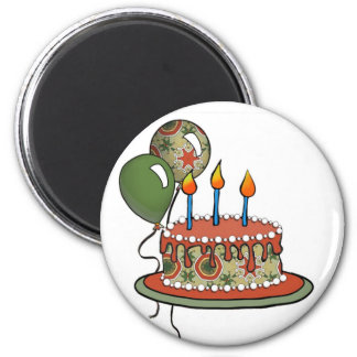 Cake-002 Red Green Olive 2 Inch Round Magnet