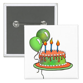 Cake-017 Orange and Lime Green Pinback Button