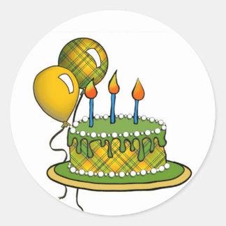 Cake-020 Green & Yellow Tartan Plaid Round Stickers
