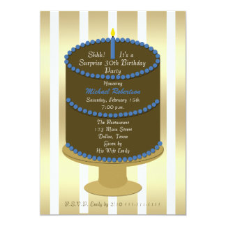 Cake 30th Surprise Birthday Party Invitation