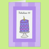 Cake 40th Birthday Cards
