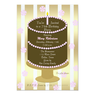 Cake 75th Birthday Party Invitation 75th in Pink