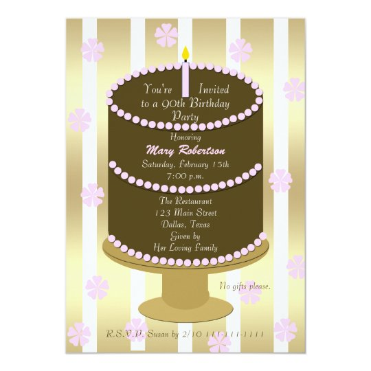 Cake 90th Birthday Party Invitation In Pink