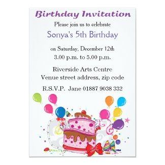 "Cake and Balloons Birthday Invitation 5"" X 7"" Invitation Card"