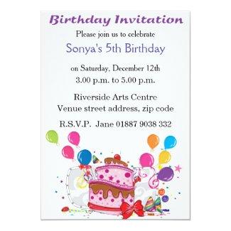 Cake and Balloons Birthday Invitation