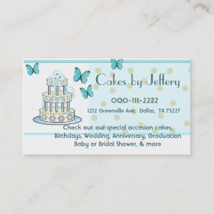 Greenville business cards templates zazzle cake and butterflies bakery business card reheart Images
