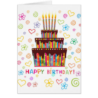 Cake and candles Happy Birthday Card