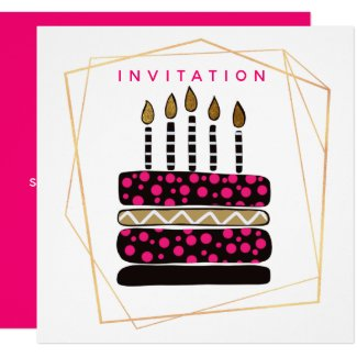 Cake and Candles/Pink Black Gold/Birthday Party Invitation