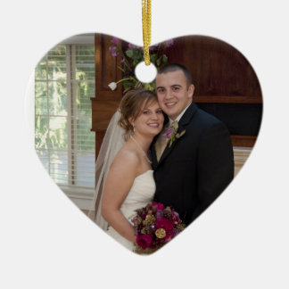 Cake and Champagne Custom Photo Wedding Memory Ceramic Ornament