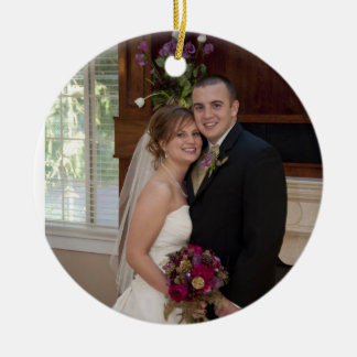 Cake and Champagne Custom Photo Wedding Memory Christmas Tree Ornament