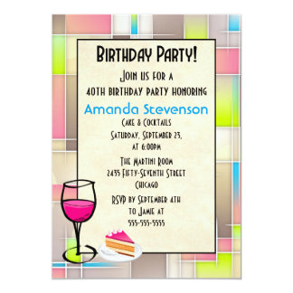 Cake and Cocktails Geometric Design Birthday Card