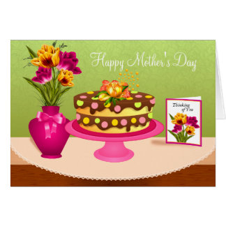 Cake and Flowers Mothers Day Card