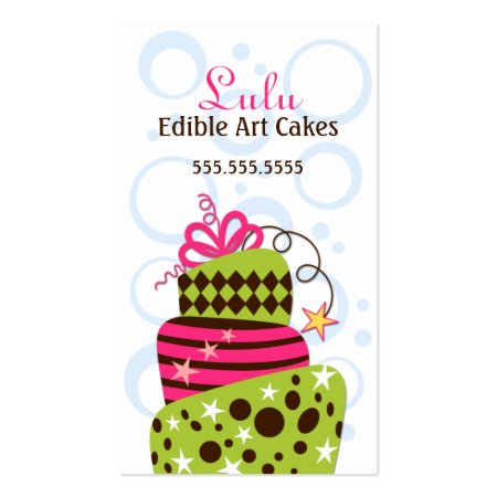 Whimsical Pink and Green Decorative Cake Art Bakery Business Cards