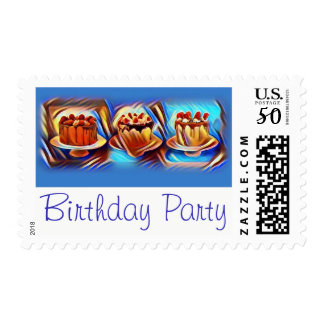 Cake Art Blue Birthday Party Postage