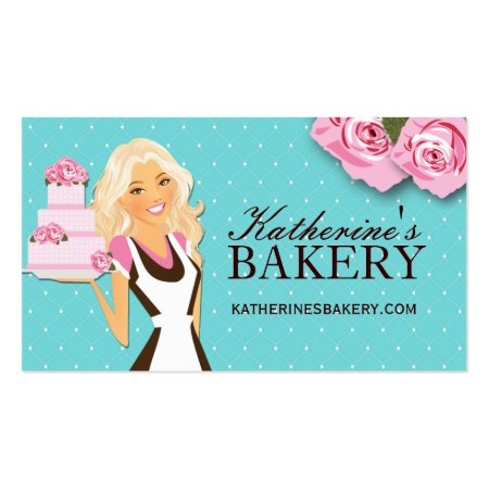 Blond Woman Holding Fancy Cake Business Cards for Bakers