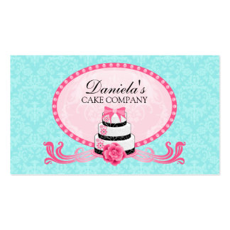 Cake Bakery Damask Aqua Pink Business Cards