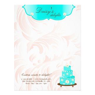 Cake Bakery Pastry Chef Daisy Blue Letterhead