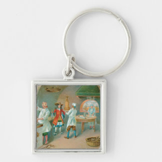 Cake Bakery Vintage Food Ad Art Silver-Colored Square Keychain