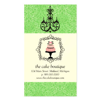 Cake Boutique Fancy Green Damask Business Cards