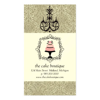 Cake Boutique Fancy Taupe Damask Business Cards