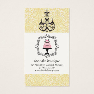 Cake Boutique Fancy Yellow Damask Business Cards
