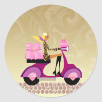 Cake Box Bakery Scooter Girl Stickers
