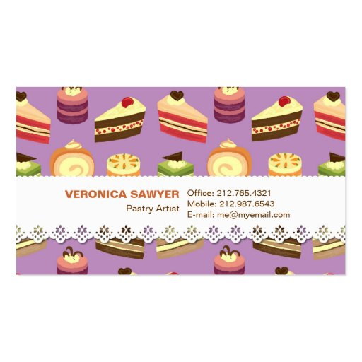 Cake Buffet (Purple) w/ Lace Business Card
