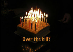 Cake Candles Over The Hill Fire Inferno Card