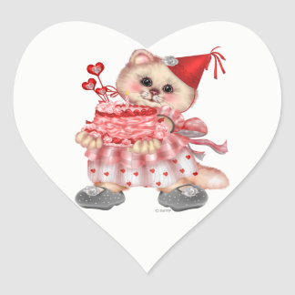 CAKE CAT AutoCollant Heart Stickers