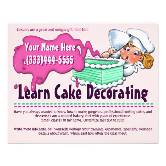Cake Decorating. Baking. Classes. Lessons Flyer