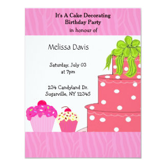Cake Decorating Birthday Party Invitation