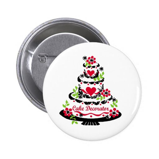Cake Decorator on Pretty Tiered Cake Pinback Buttons