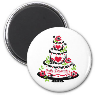 Cake Decorator on Pretty Tiered Cake 2 Inch Round Magnet