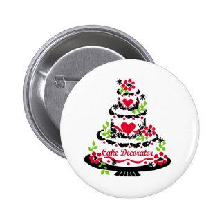 Cake Decorator on Pretty Tiered Cake Pinback Button