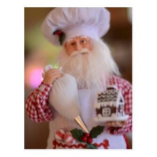 Cake Decorator Santa Christmas Holiday ginger Postcard