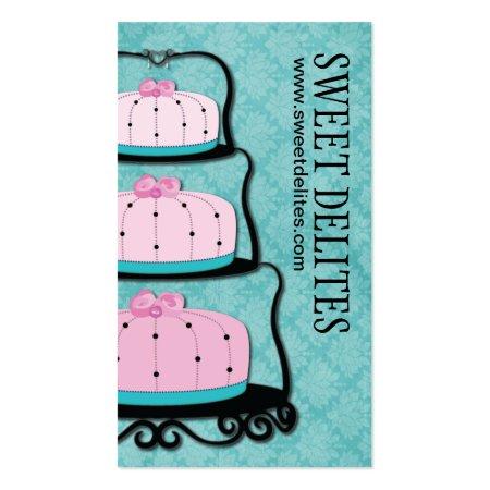 Pink Cakes Teal Blue Background Cake Designer Business Cards