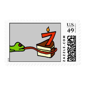 Cake-Eating Lizard Birthday Stamp