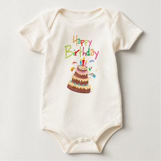 Cake Happy Birthday Baby Bodysuit