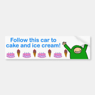Cake & Ice Cream (Blue Text) Car Bumper Sticker