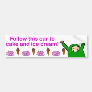 Cake & Ice Cream (Pink Text) Bumper Sticker