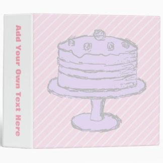 Cake in Light Purple on Pink. 3 Ring Binders