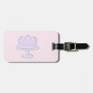 Cake in Light Purple on Pink. Luggage Tags
