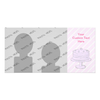 Cake in Light Purple on Pink. Photo Cards