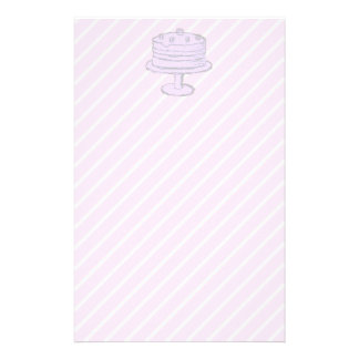 Cake in Light Purple on Pink Customized Stationery