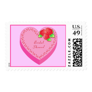 Cake in the Shape of  a Heart Bridal Shower Stamp