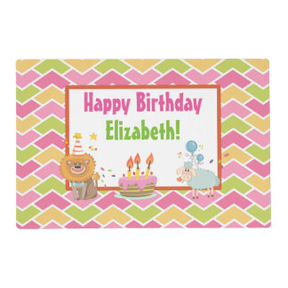 Cake, Lion, Sheep and Balloons Happy Birthday Placemat