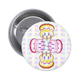 CAKE MANIA :  KIDS would like PLAY with CAKES Pinback Button