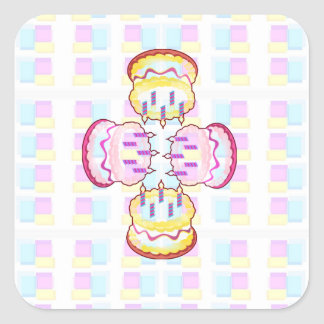 CAKE MANIA :  KIDS would like PLAY with CAKES Square Sticker