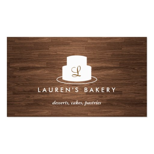 Cake Monogram Logo in White on Brown Woodgrain Double-sided Standard Business Cards (pack Of 100)